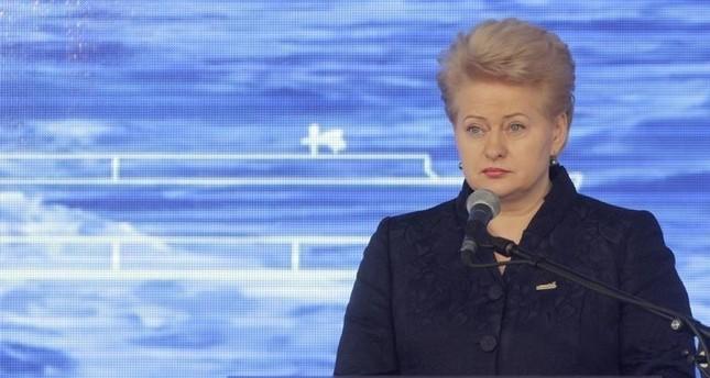 Lithuania's President Dalia Grybauskaite speaks during floating storage regasification unit (FSRU) Independence welcome ceremony in Klaipeda port October 27, 2014 (Reuters file photo)