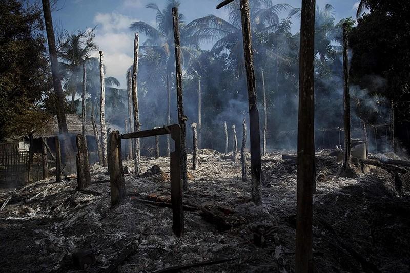 Smoldering debris of burned houses in Warpait village, a Muslim village in Maungdaw located in Rakhine state, Myanmar. (File Photo)