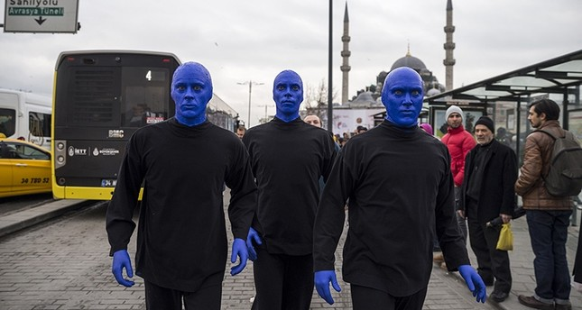 Blue Man Group walks the streets of Istanbul's Eminönü district on Feb. 12, 2018. AA Photo