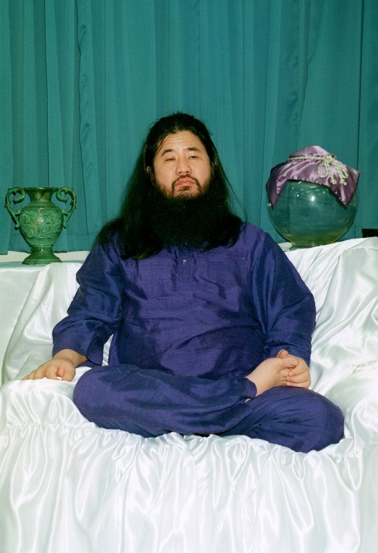 A file photo taken on 25 October 1990, shows cult Aum Shinrikyo founder Shoko Asahara at an undisclosed location. (EPA Photo)