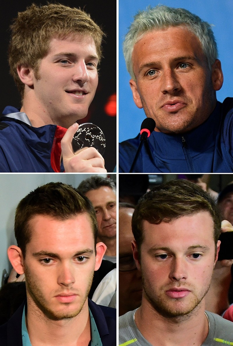 Combination picture made on August 18, 2016 shows USA's swimmer James Feigen (top L), Ryan Lochte (top R) Gunnar Bentz (bottom L) and Jack Conger.