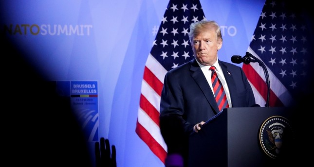 U.S. President Donald Trump addresses a news conference after a summit of heads of state and government at NATO headquarters in Brussels on Thursday, July 12, 2018. (AP Photo)