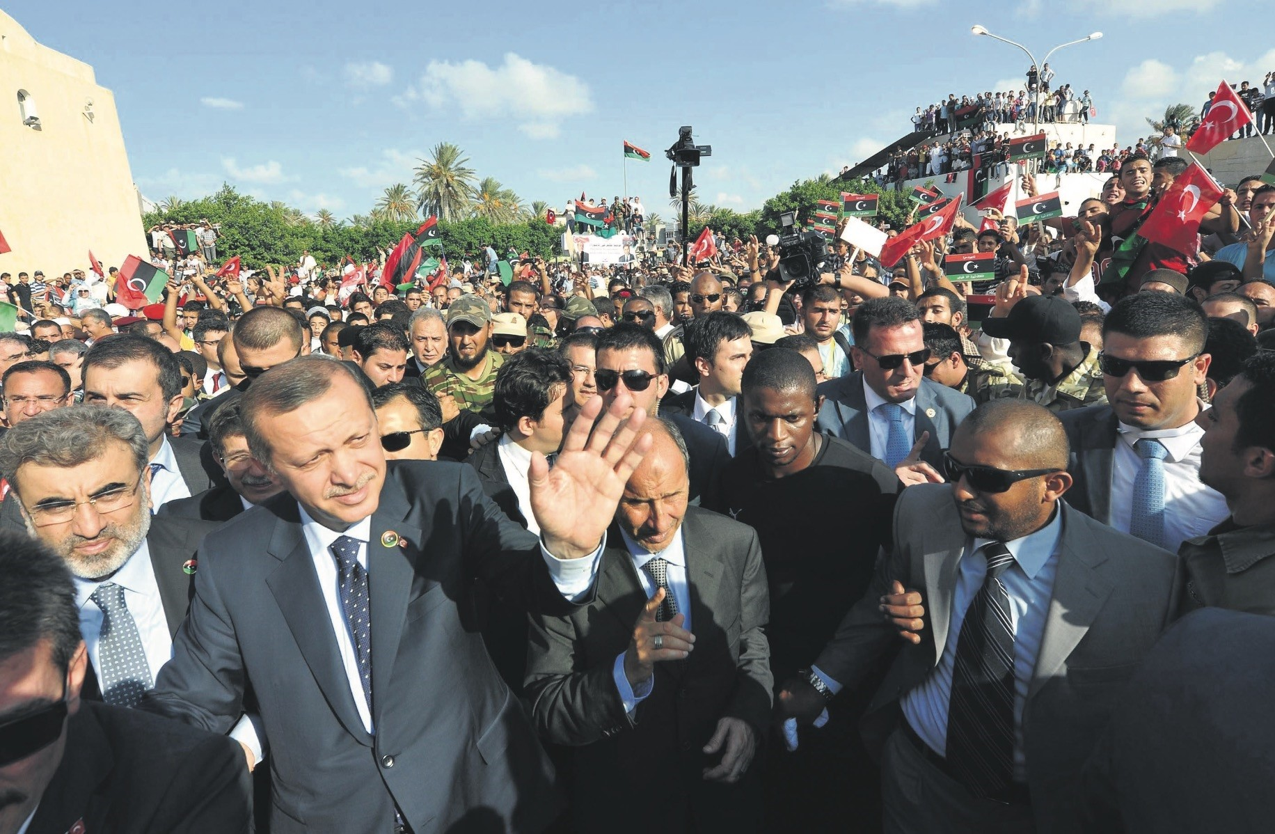 President Recep Tayyip Erdou011fan was greeted by thousands of people during his visit to Murad Agha mosque in Tajura town, Libya, Sept. 17,  2011.