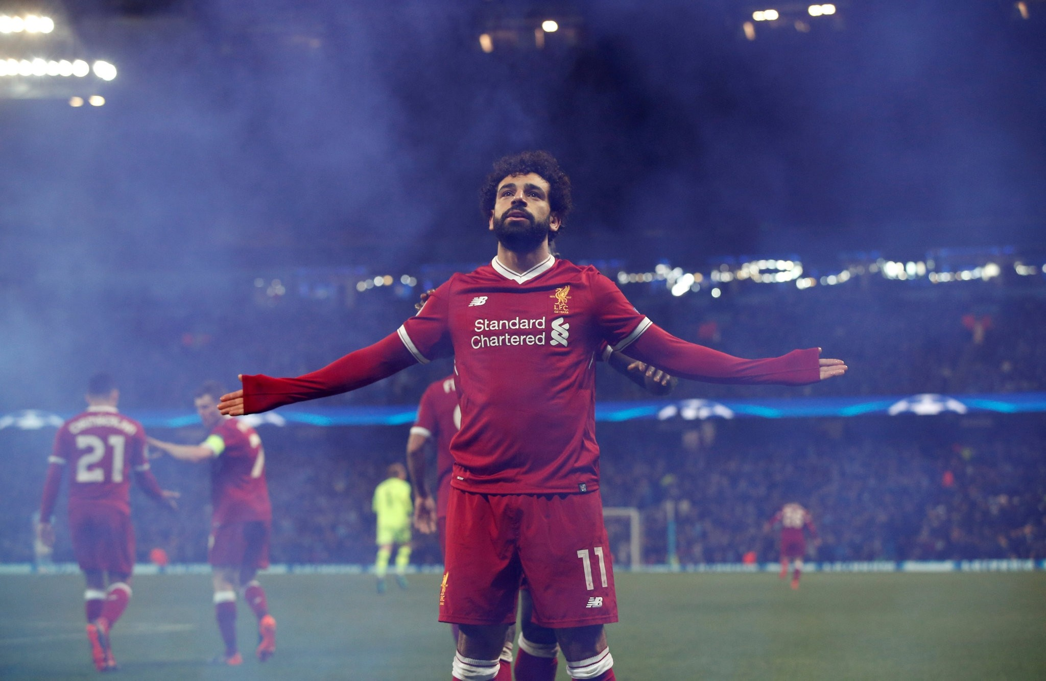 Mohamed Salah celebrates scoring Liverpool's first goal in their Champions League quarter-final second leg against Manchester City at the Etihad Stadium, Manchester, Britain, April 10, 2018. (REUTERS Photo)