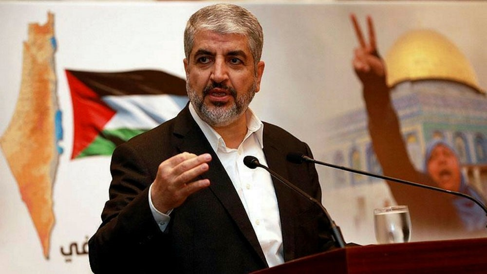 The exiled ruler of Hamas Khaled Mashaal presents the new manifesto in Doha, Qatar.