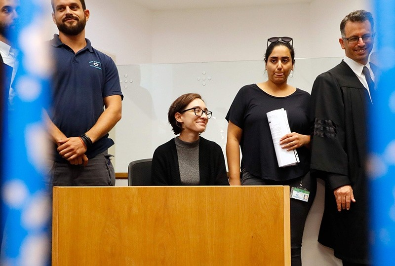 US student Lara Alqasem sits for a hearing at the Tel Aviv district Court on Oct. 11, 2018. (AFP Photo)