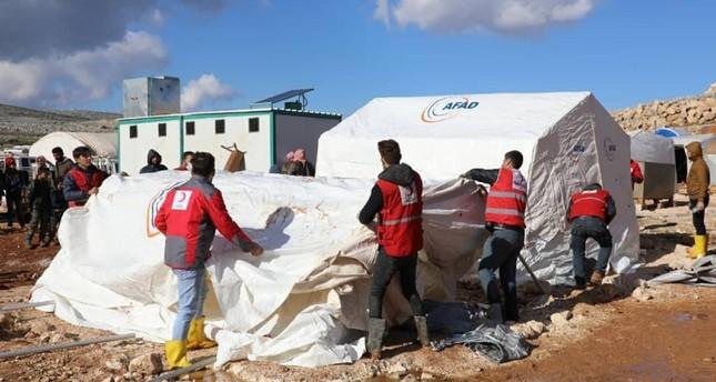 مساعدات من تركيا للمتضررين من الأمطار في إدلب