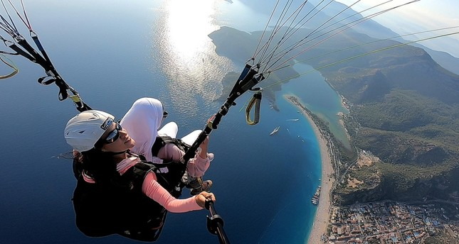 A paragliding instructor films a trip down from Mt. Babadağ.
