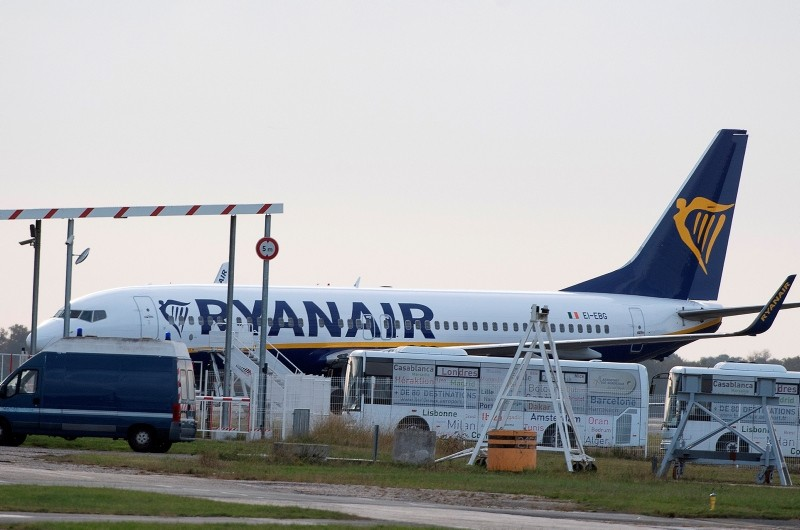 A Ryanair plane sits on the tarmac at the Bordeaux-Merignac airport in southwestern France, after being impounded by French authorities, Friday, Nov. 9, 2018. (AP Photo)