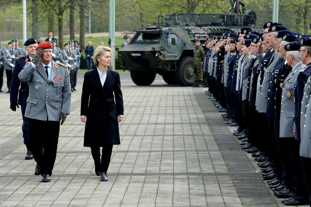 German Minister of Defense Ursula von der Leyen at the opening ceremony of the new Bundeswehr cyber command in Bonn, Germany,  April 5.