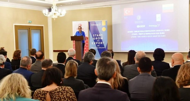 Trade Minister Ruhsar Pekcan speaks during Turkey-Lithuania Business Forum, Vilnius, Jan. 31, 2020. AA Photo