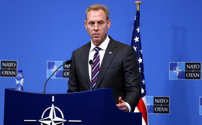 US Defense Secretary Patrick Shanahan gives a press conference following the North Atlantic Council of Defense Ministers, at the NATO headquarters in Brussels, on February 14, 2019. AA Photo