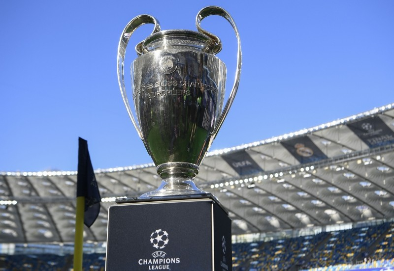In this file photo taken on May 26, 2018 the trophy is displayed before the UEFA Champions League final football match between Liverpool and Real Madrid at the Olympic Stadium in Kiev, Ukraine. (AFP Photo)