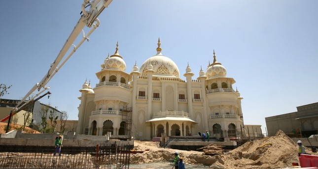 Workers outside the Raj Mahal area, which is part of the Bollywood of Dubai Parks and Resorts.