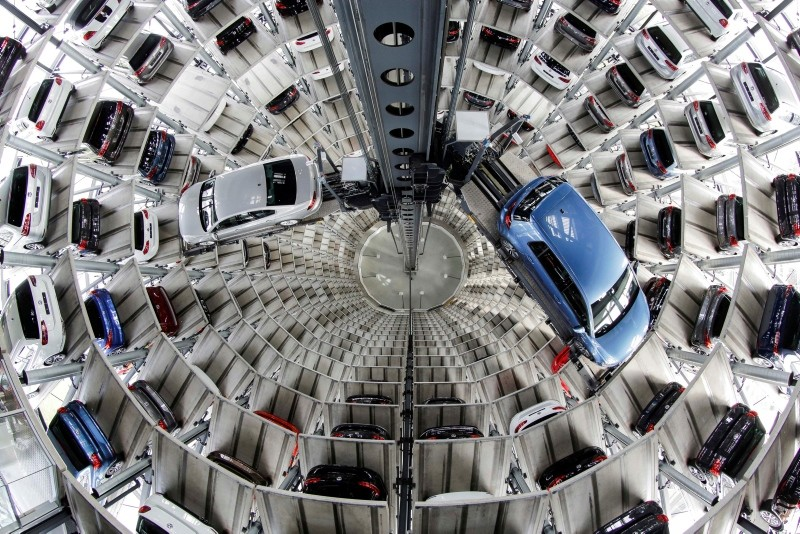 In this April 28, 2016 file photo Volkswagen cars are presented to media inside a delivery tower in Wolfsburg, Germany. (AP Photo)