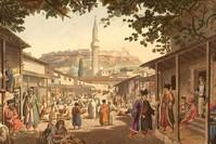 صورة لسوق في اليونان يضم مسلمين ومسيحيين أرثوذكس يعيشون معاً تحت حكم الإمبراطورية العثمانية