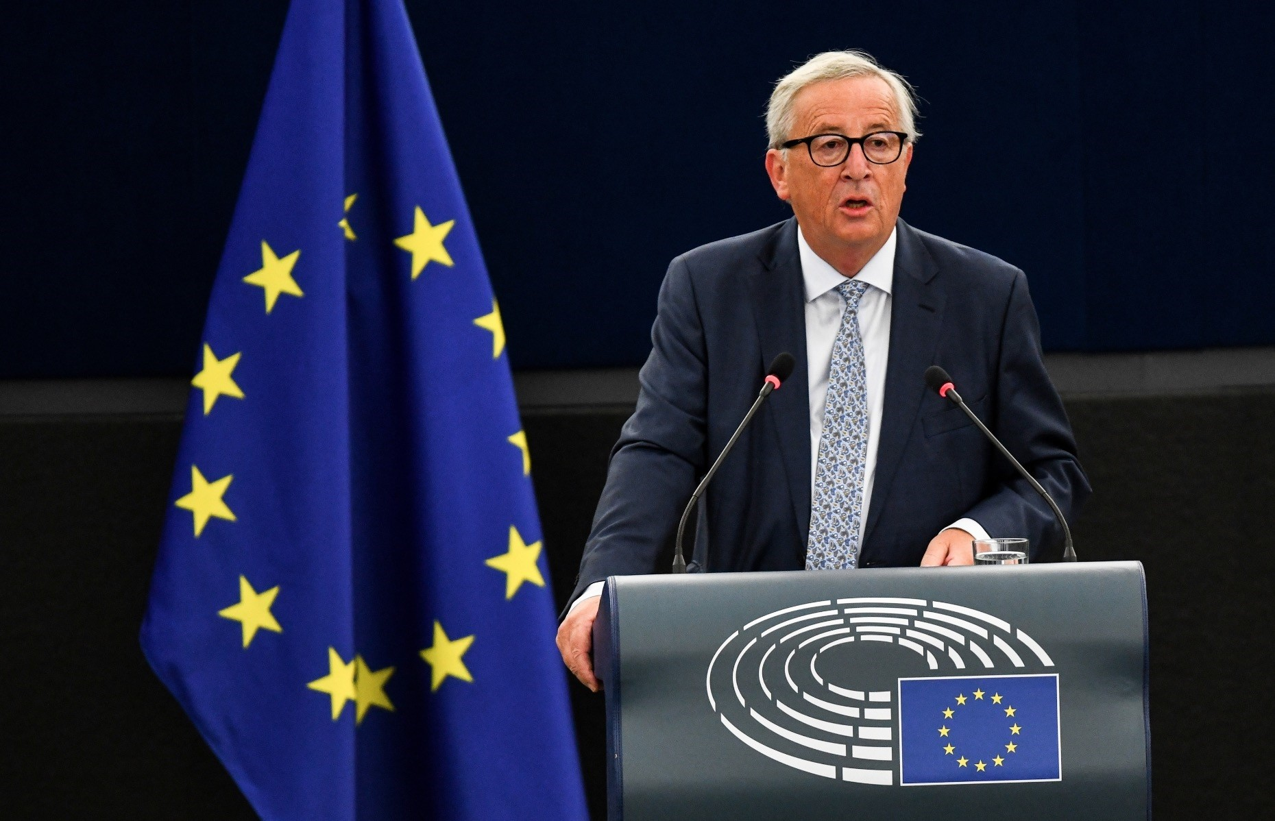 President of the European Commission Jean-Claude Juncker delivers the annual State of the Union speech in the European Parliament, Strasbourg, Sept. 12.