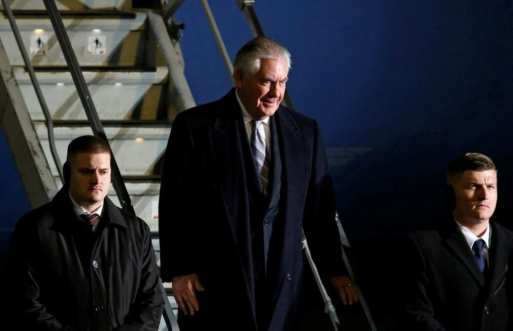 U.S. Secretary of State Rex Tillerson arrives at Haneda international airport in Tokyo, as the first stop of his tour in Asia, March 15.