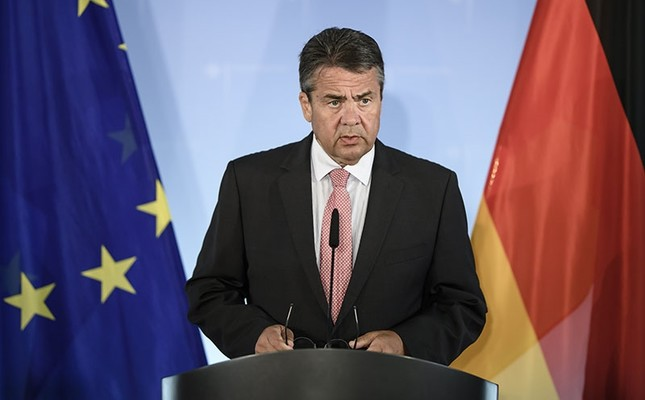German Foreign Minister Sigmar Gabriel delivers a statement to the media in Berlin, Germany, July 20, 2017. (EPA Photo)