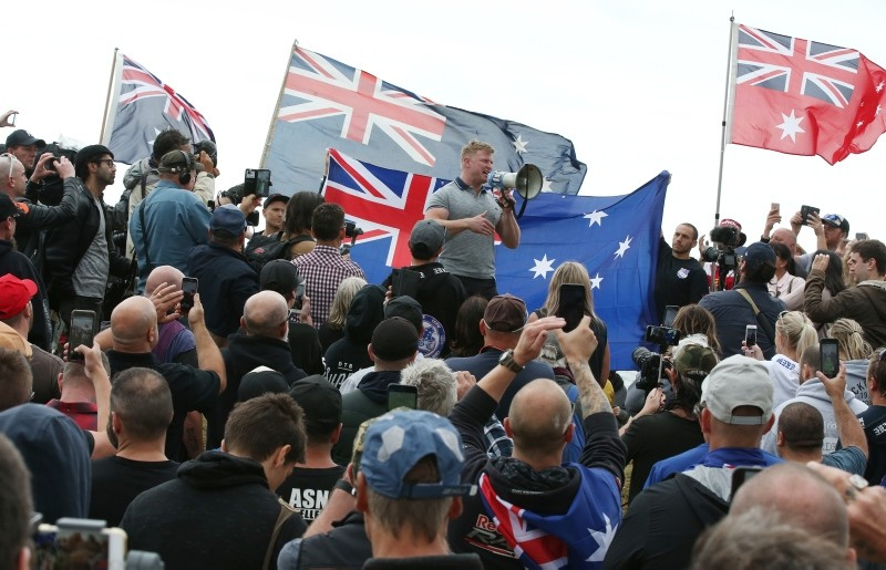 Far-right activist Blair Cottrell is seen talking to supporters during a rally on St Kilda foreshore in Melbourne, Australia, Jan. 5, 2019. (EPA Photo)