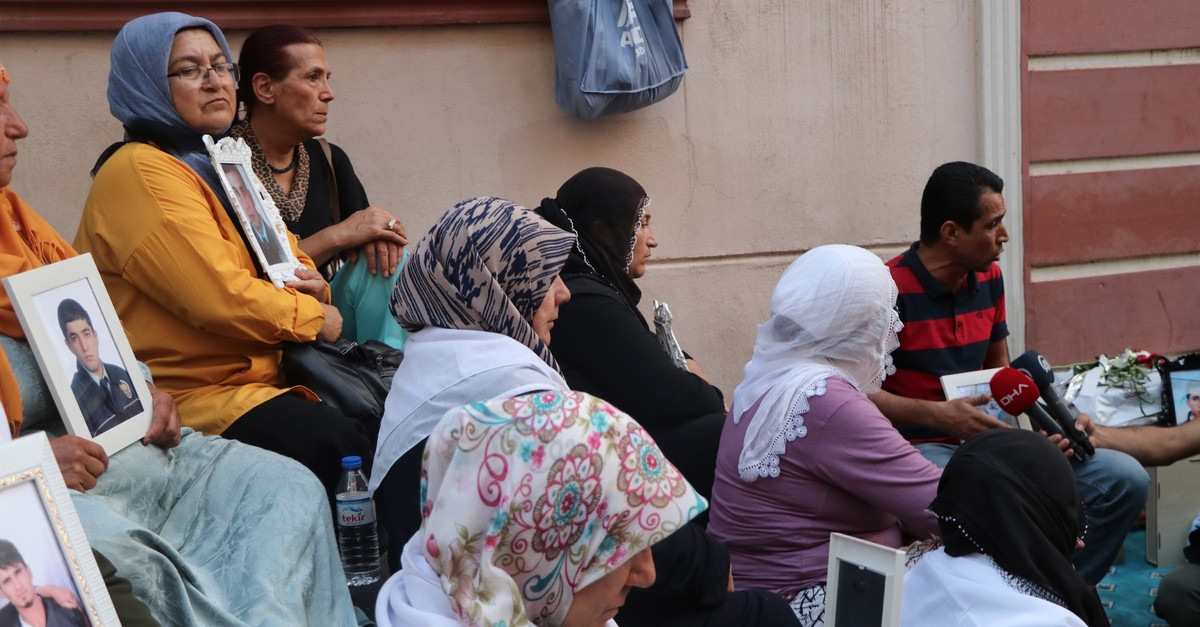 Kurdish mothers whose children were abducted by PKK terrorists hold a sit-in protest in front of pro-PKK Peoplesu2019  Democratic Party (HDP) Diyarbaku0131r headquarters, Sept. 6, 2019.