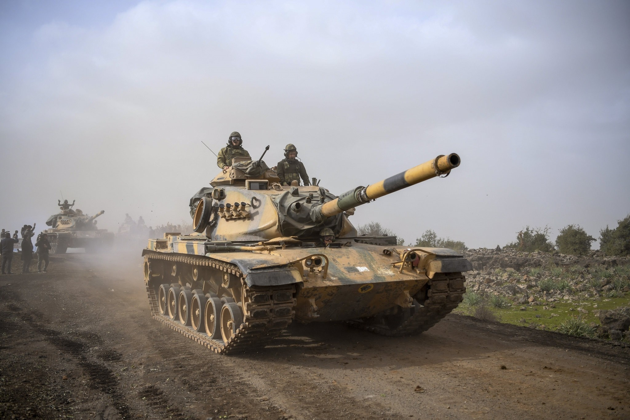 In this Monday, Jan. 22, 2018 file photo, Turkish army tanks head for Afrin, an enclave in northern Syria controlled by U.S.-allied YPG terrorists, in Hassa, Hatay, Turkey. (AP Photo)