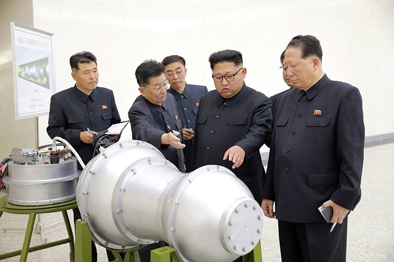 This undated file photo distributed on Sept. 3, 2017, by the North Korean government, shows North Korean leader Kim Jong Un, second from right, at an undisclosed location in North Korea. (AP Photo)