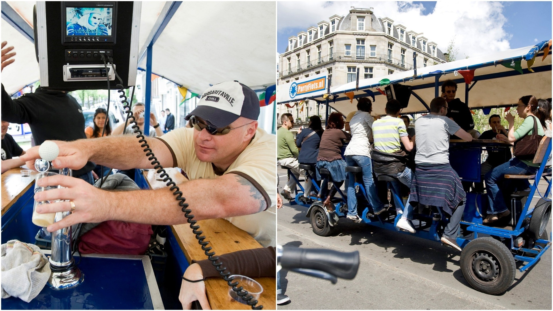 Tourists cycle as they drink beer and sing karaoke on a beer bike in Amsterdam June 12, 2009. (REUTERS Photos)