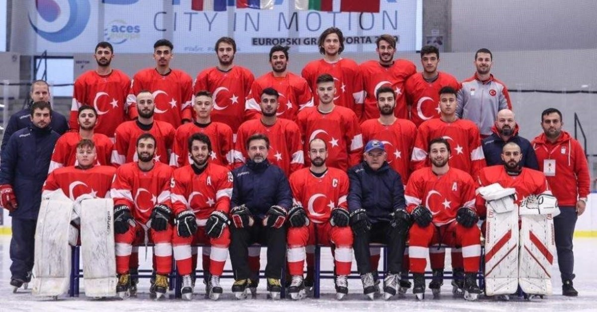 Turkish national ice hockey team poses during the tournament in Bulgaria, Dec. 15, 2019. (DHA Photo)