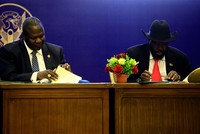 South Sudan's warring leaders sign power-sharing deal