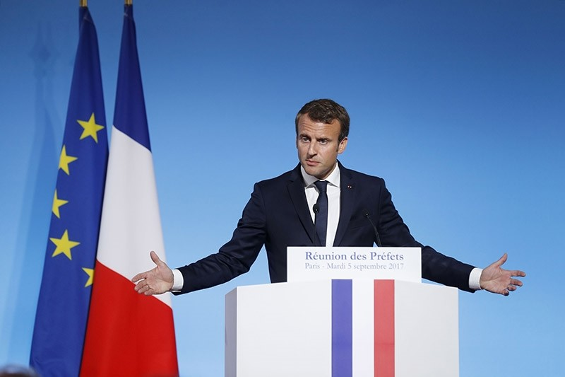 French President Emmanuel Macron delivers a speech at the Elysee Palace in Paris during the Prefects Reunion on September 5, 2017. (AFP Photo)