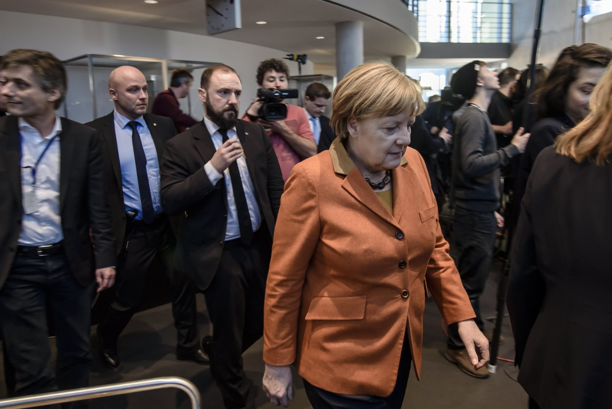 Merkel leaves for a break of a hearing at the NSA investigation committee of the German 'Bundestag' parliament in in Berlin, Germany, 16 February 2017. (EPA Photo)