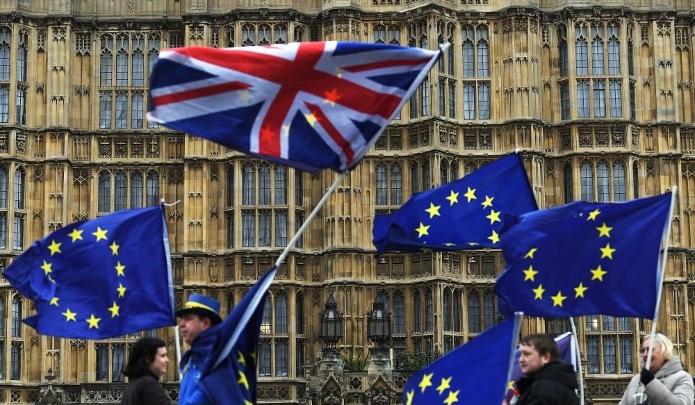 Pro-EU campaigners protest outside parliament in London, Britain, Jan. 29, 2018.