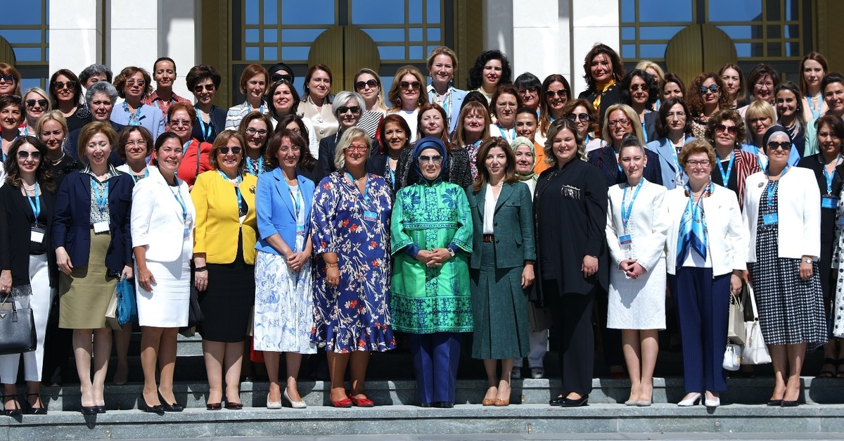 First lady Emine Erdou011fan (C) organized a lunch for women envoys and spouses of envoys as part of the 11th Ambassadorsu2019 meeting in Ankara, Aug. 07, 2019.