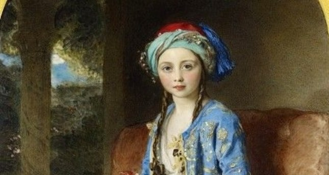 An oil painting of Victoria, Princess Royal, in an Ottoman-style costume by William Charles Ross.