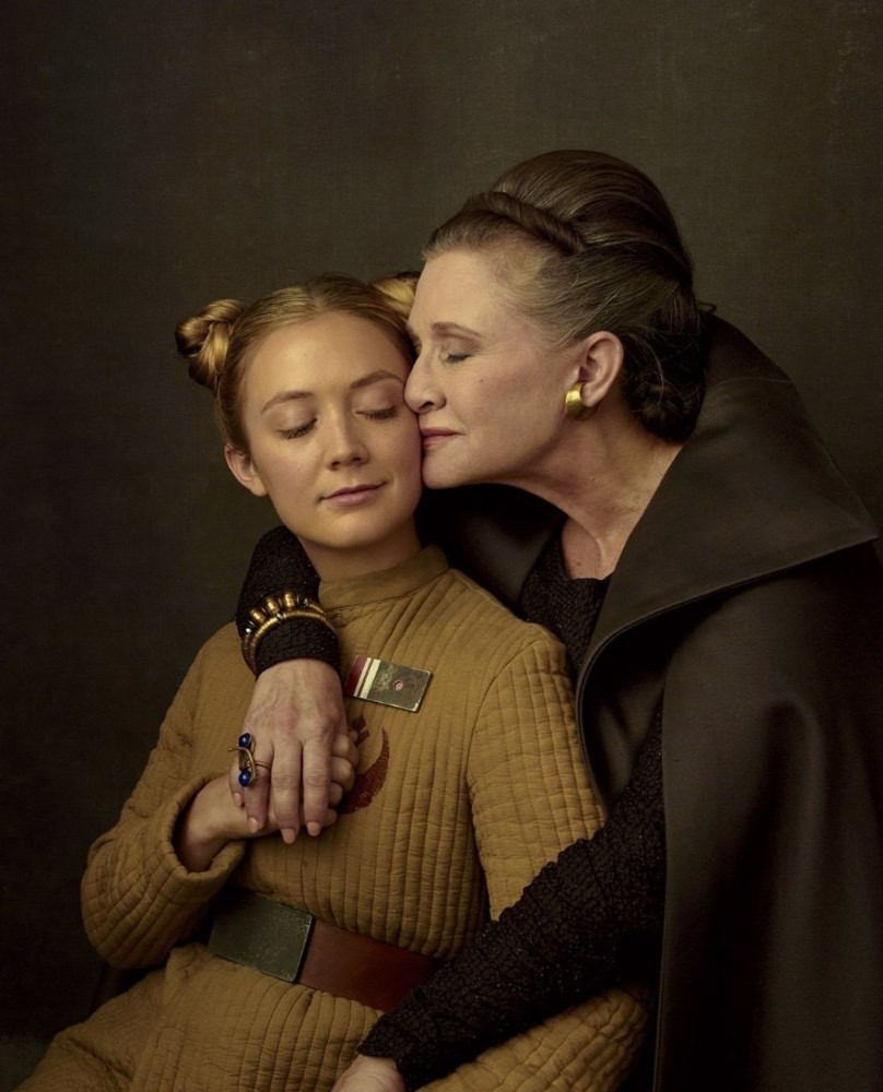 Carrie Fisher and Billie Lourd in ,Star Wars: The Last Jedi.,