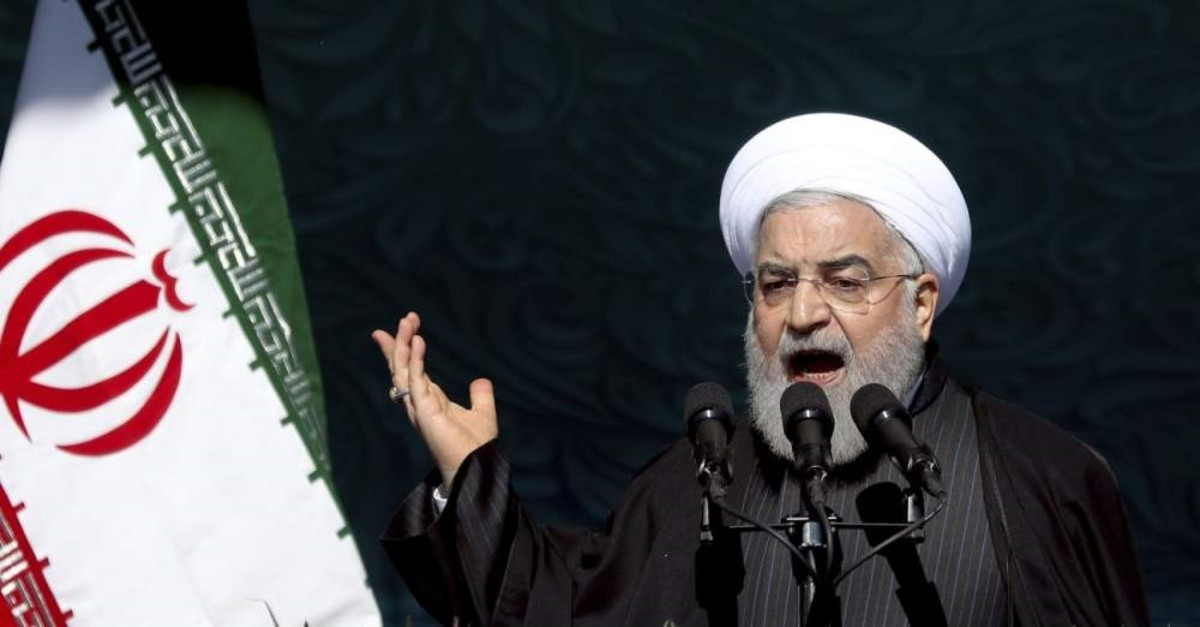 Iranian President Hassan Rouhani speaks during a ceremony celebrating the 41st anniversary of the Islamic Revolution, Tehran, Feb. 11, 2020. (AP Photo)