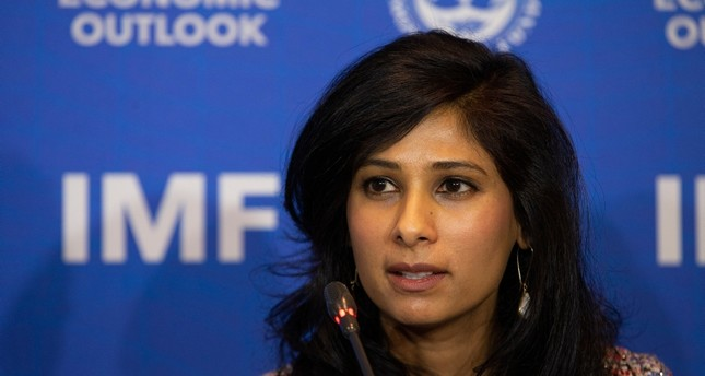 nternational Monetary Fund Chief Economist and Director of the Research Department Gita Gopinath leads a presentation of the IMF World Economic Outlook Update, in Santiago, Chile, Tuesday, July 23, 2019. (AP Photo)