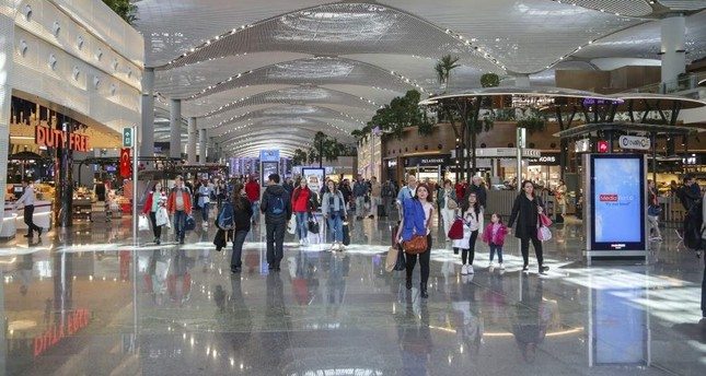 Passengers walk through Istanbul Aiport. The first phase of the airport was officially opened on Oct. 29, 2018, the 95th anniversary of the founding of the Turkish Republic.