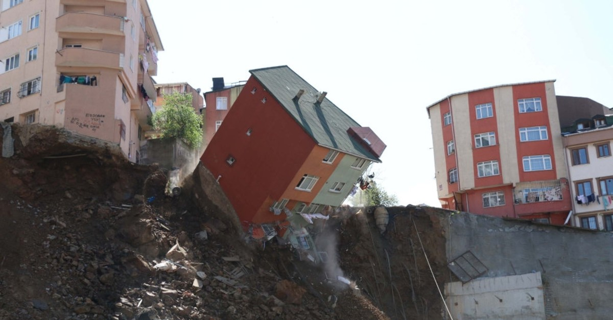 A poorly constructed building collapses in Istanbulu2019s Kau011fu0131thane, April 22, 2019. The neighborhood where the building was located, along with other substandard structures, was declared an urban transformation area.