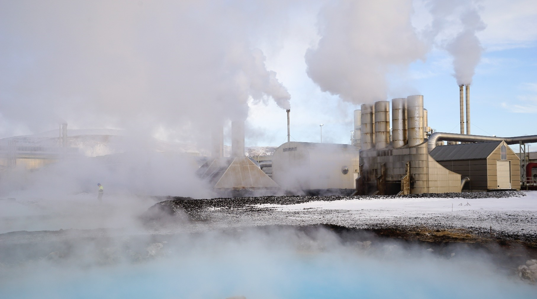 Large clouds of steam rise into the sky from the Svartsengi geothermal power station in Grindavak, Iceland.