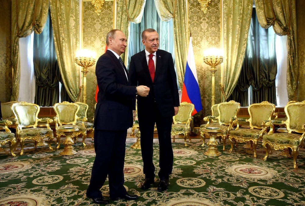 President Erdou011fan and Russia's Vladimir Putin meeting in the Kremlin Palace on March 10, 2017.