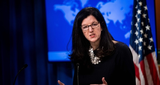 In this file photo taken on April 17, 2019, U.S. Assistant Secretary of State for Western Hemisphere Affairs Kimberly Breier speaks to reporters at U.S. Department of State in Washington, D.C. (AFP Photo)