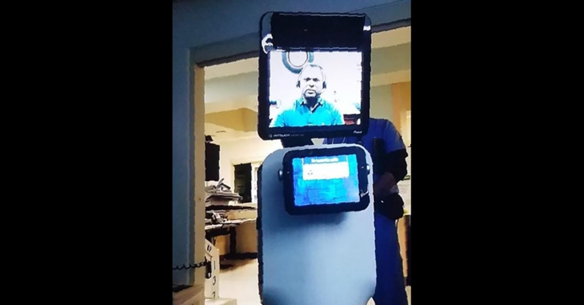This handout picture released on March 9, 2019 by Ernest Quintana's grand daughter Annalisa Wilharm, shows the robot doctor who came to Ernest's hospital room at a Kaiser Permanente facility in Fremont, California (AFP Photo)