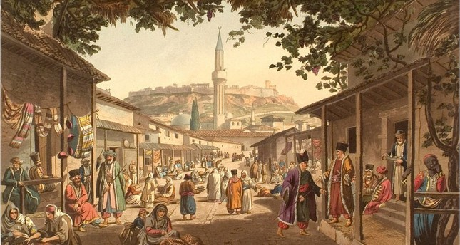 A painting of a bazaar in Greece depicting Muslims and Orthodox Christians living together under the rule of the Ottoman Empire.