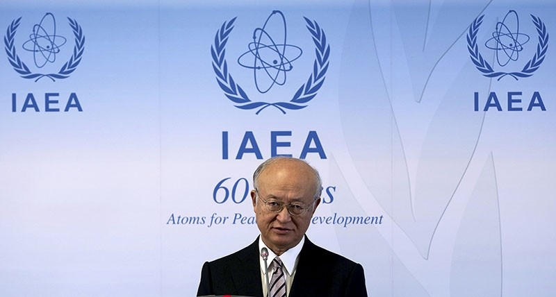 Director General of the International Atomic Energy Agency, IAEA, Yukiya Amano of Japan, addresses the media during a news conference after a meeting of the board of governors at the International Center in Vienna, Austria, Sept. 11, 2017. (AP Photo)
