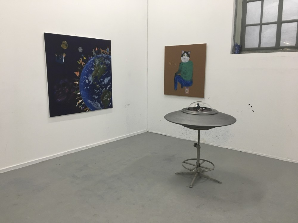 Kubilay Mert Uralu2019s pieces at this yearu2019s event include a number of paintings and a UFO sculpture that referrs to his subconscious and childhood memories.