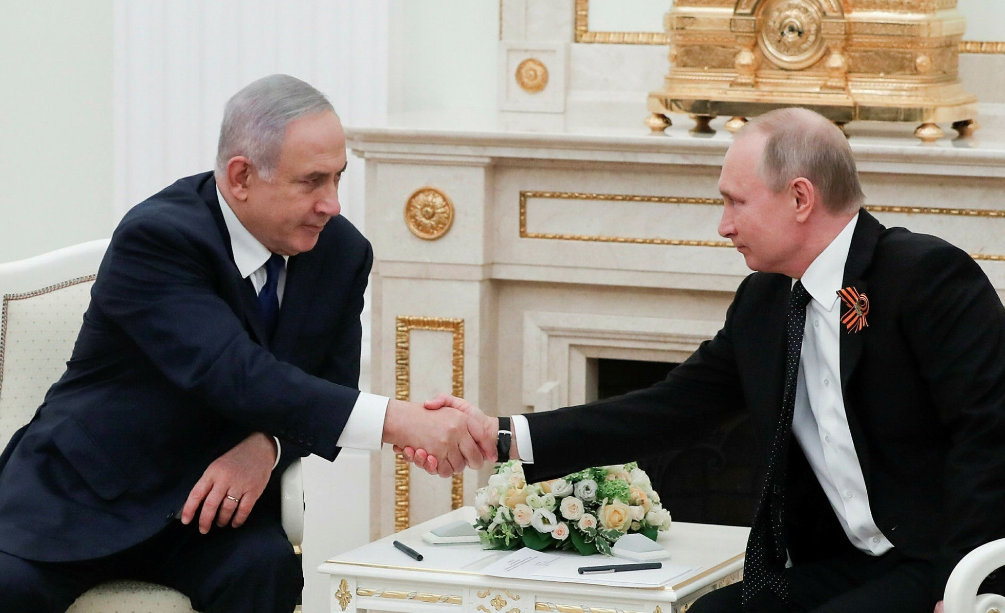 Israeli Prime Minister Benjamin Netanyahu and Russian President Vladimir Putin attend a meeting at the Kremlin, Moscow, May 9.