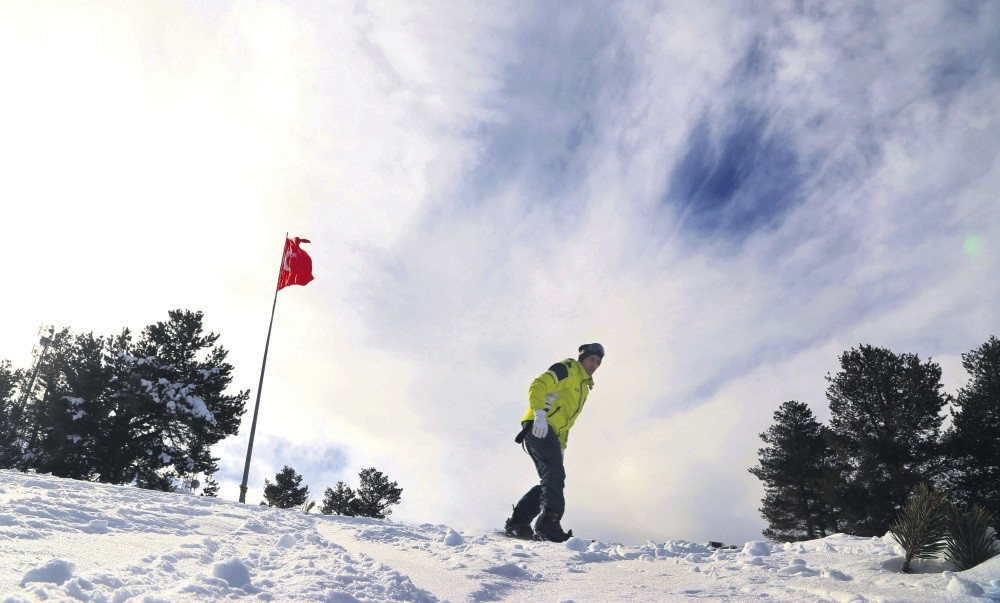 A man skis in the Cu0131bu0131ltepe district of Kars some 1,400 kilometers east.