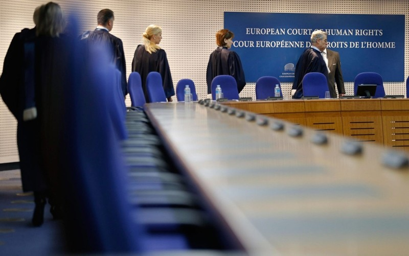 This file photo shows judges of the European Court of Human Rights entering the hearing room of the court in Strasbourg, Dec. 3, 2013. (Reuters Photo)